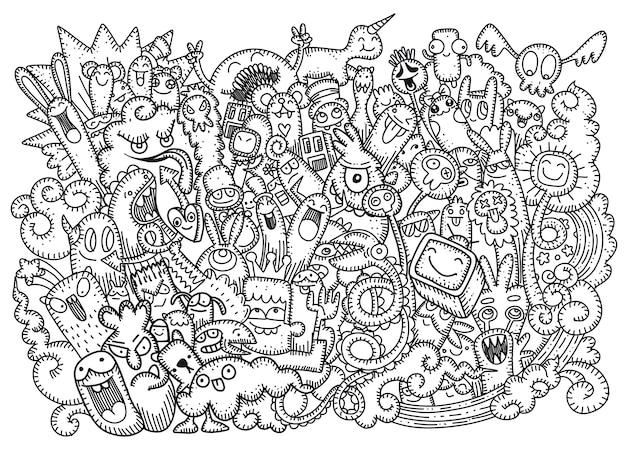Doodle mignon fond de monstre