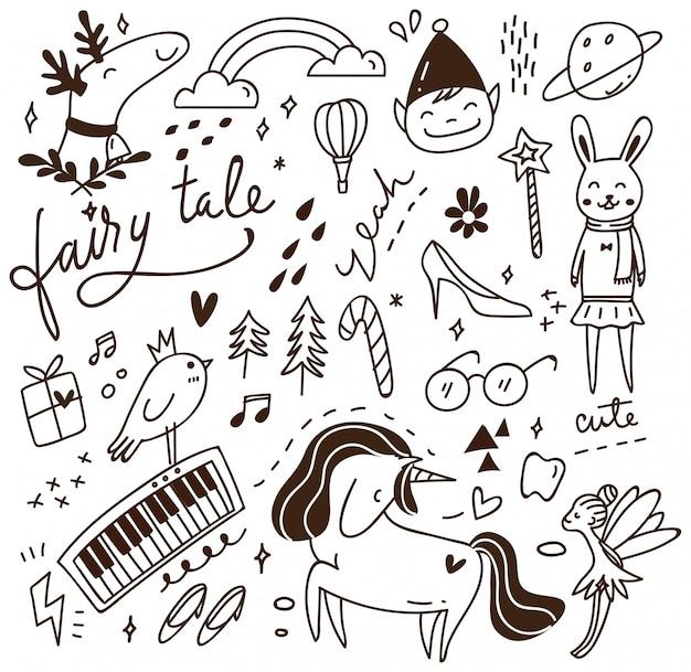 Doodle mignon avec mélange de divers objets