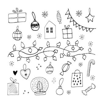 Doodle mignon noël sertie de guirlandes lumières jouets balles sucette bonbons boîte-cadeau et flocons de neige