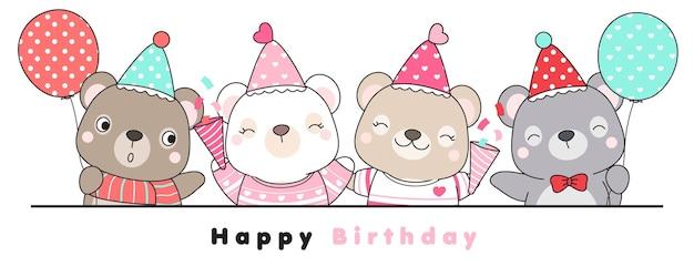 Doodle mignon ours avec voeux de joyeux anniversaire