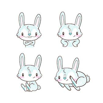 Doodle mignon petit lapin et dessin animé lapin