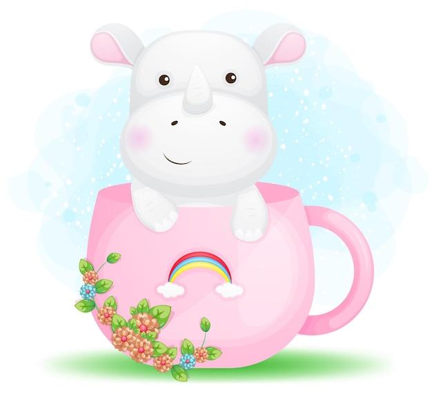 Doodle mignon petit rhinocéros dans la caricature de la tasse rose