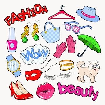 Doodle de mode femme avec accessoires et vêtements