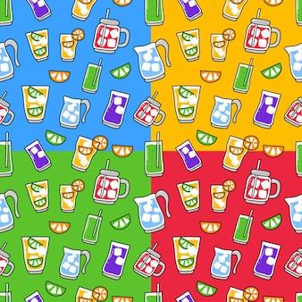 Doodle de modèle sans couture d'élément de boisson.