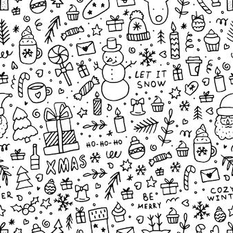 Doodle modèle sans couture de noël. éléments de ligne noire d'hiver pour cartes de voeux, affiches, autocollants et design saisonnier sur fond blanc.