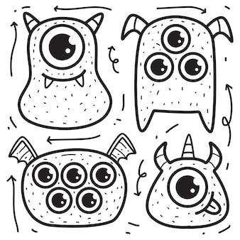 Doodle de monstre de dessin animé dessiné à la main