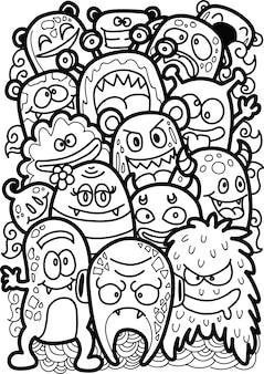 Doodle monstre mignon