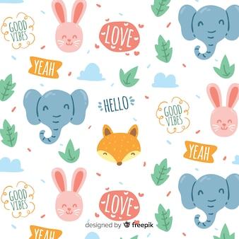 Doodle motif animaux et mots