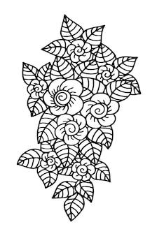 Doodle motif floral en noir et blanc