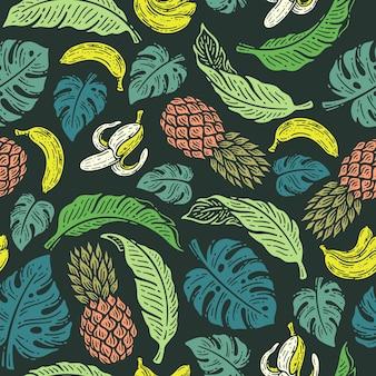 Doodle motif tropical d'été vintage avec illustration de feuilles de banane et de palmier ananas