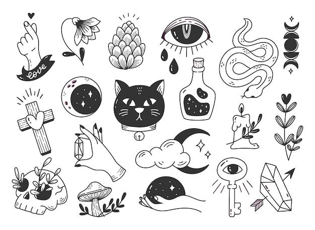 Doodle mystique dessiné à la main, élément de conception