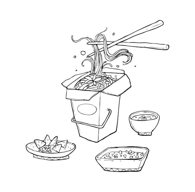 Doodle de nouilles asiatiques