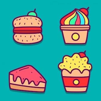 Doodle de nourriture de dessin animé kawaii