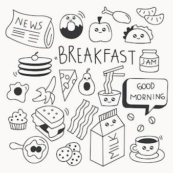 Doodle de nourriture petit déjeuner mis en illustration vectorielle