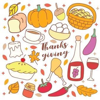 Doodle objet de thanksgiving mignon
