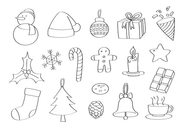 Doodle objets de noël dessiné à la main