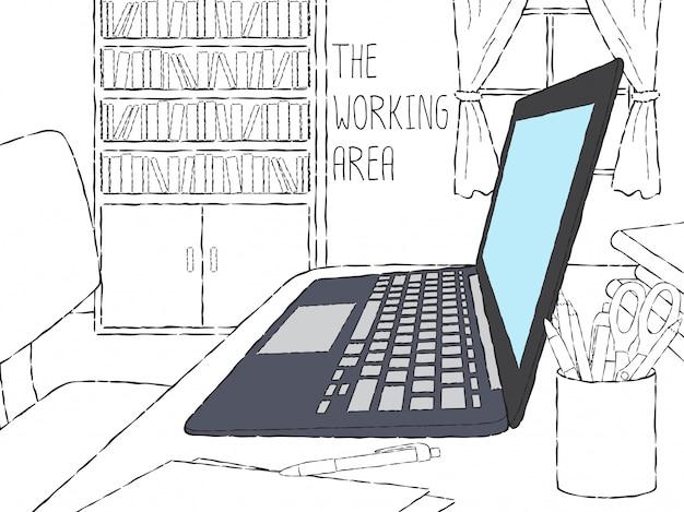 Doodle ordinateur portable dans l'espace de travail