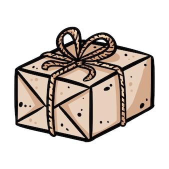 Doodle de paquet de dessin animé mignon. logo de la boutique de cadeaux. les médias mettent en évidence le symbole graphique