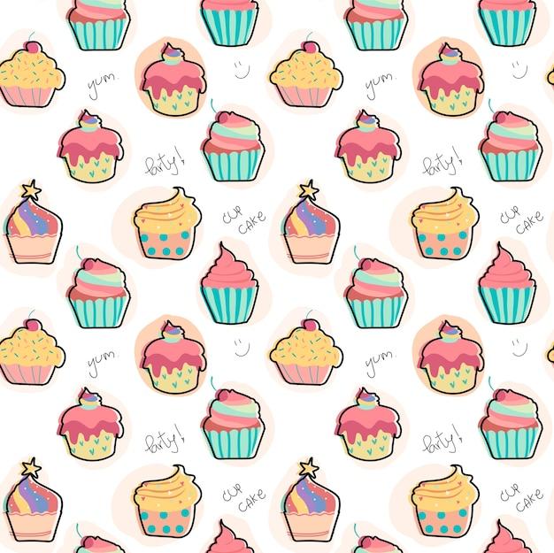 Doodle pastel cupcake modèle sans soudure de fond