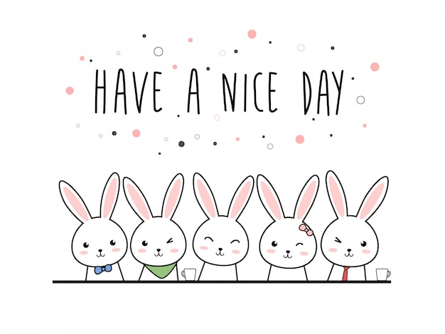 Doodle pastel dessin animé mignon lapin lapin