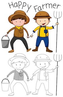 Doodle personnage d'agriculteur heureux