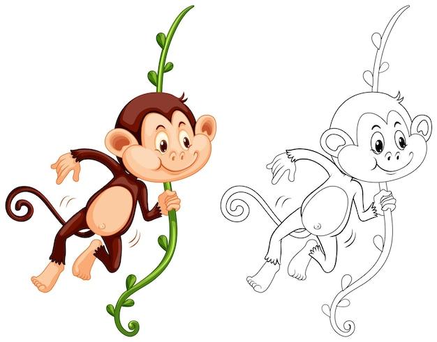 Doodle personnage animal pour singe