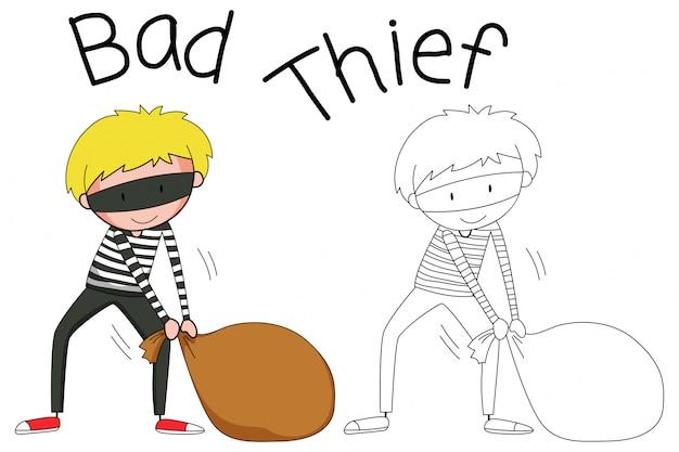 Doodle personnage de voleur