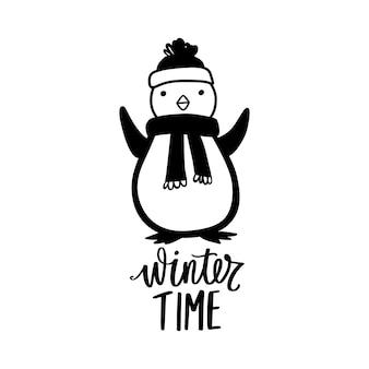 Doodle pingouin avec écharpe, chapeau chaud et inscription de lettrage dessiné à la main