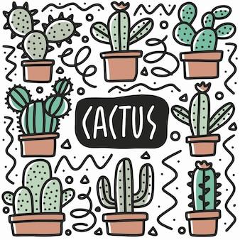 Doodle de plante cactus dessiné à la main sertie d'icônes et d'éléments de conception