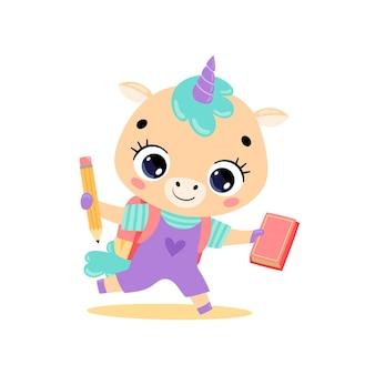 Doodle plat de licorne de poney de dessin animé mignon allant à l'école. les animaux retournent à l'école