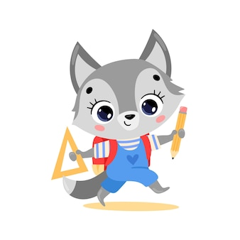 Doodle plat d'un loup de dessin animé mignon allant à l'école. les animaux retournent à l'école