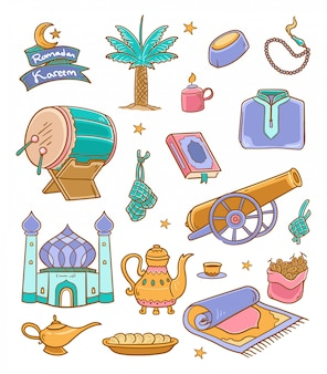 Doodle ramadan kareem illustration couleur