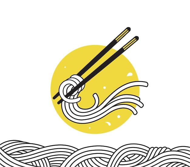 Doodle de ramen aux nouilles asiatiques