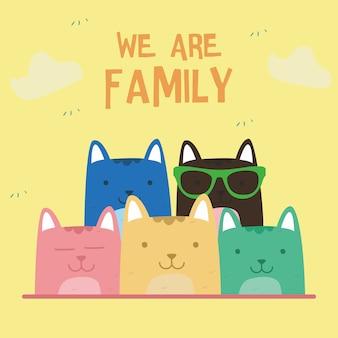 Doodle rétro impressionnant mignon chat de famille