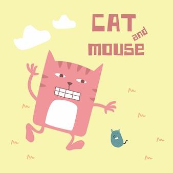 Doodle rétro impressionnant mignon chat et souris