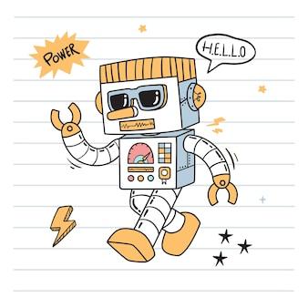 Doodle de robot marchant