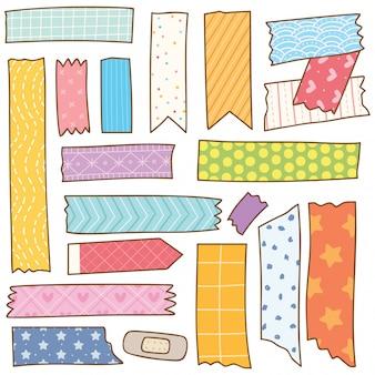 Doodle de ruban washi isolé sur blanc