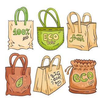 Doodle sac écologique en tissu et papier.