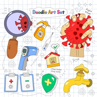 Doodle set vector illustration sur fond de papier