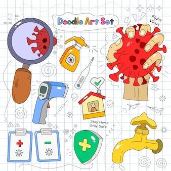 Doodle set vector illustration sur fond de papier