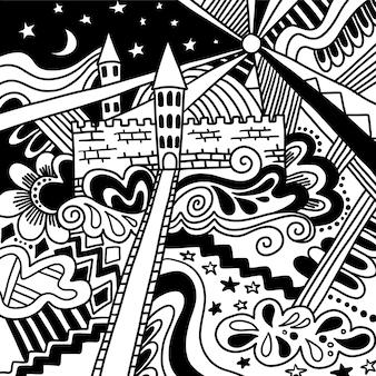 Doodle sketch château magique dessin en noir et blanc