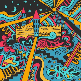 Doodle sketch château magique motif coloré mignon isolé