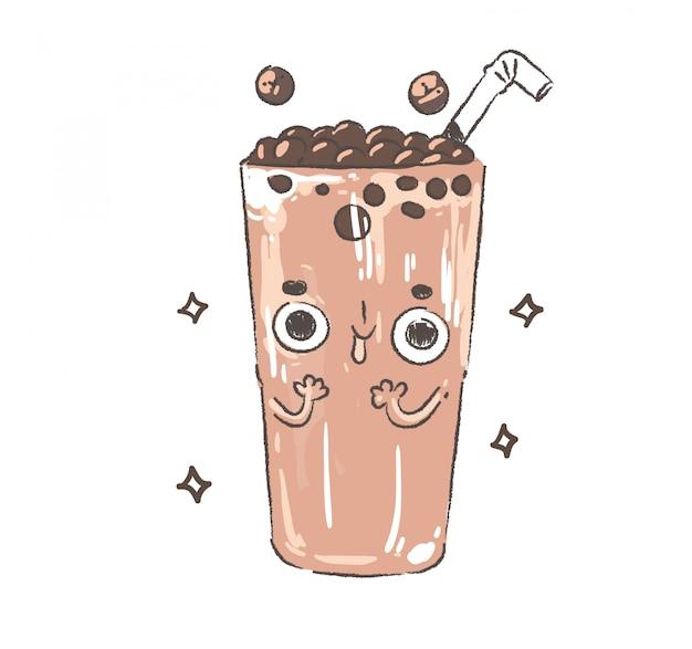 Doodle de thé au lait perlé. thé au lait perlé