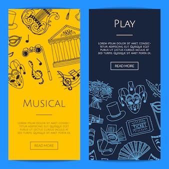 Doodle théâtre éléments illustration de concept de bannières web verticales