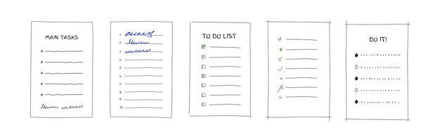 Doodle to do list template for bullit journal hand drawn vector illustration isolated on white backgriund