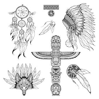 Doodle tribal set
