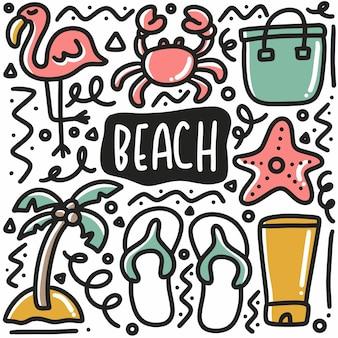 Doodle de vacances à la plage dessiné main sertie d'icônes et d'éléments de conception