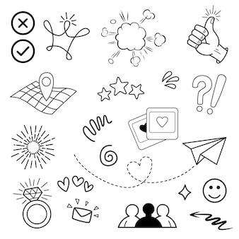 Doodle vector set illustration avec vecteur de style d'art de ligne de tirage à la main. couronne, roi, soleil, flèche, coeur, amour, étoile, tourbillon, swoops, emphase, pour la conception.