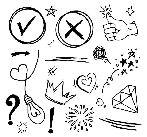Doodle vector set illustration avec vecteur de style d'art de ligne de tirage à la main. couronne, roi, soleil, flèche, coeur, amour, étoile, tourbillon, swoops, emphase, pour la conception
