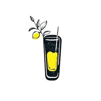 Doodle verre de limonade avec de la paille symbole dessiné à la main soda froid d'été